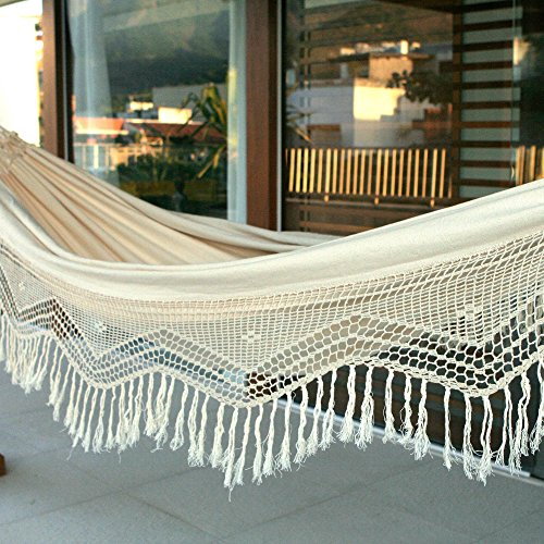 NOVICA-Handmade Brazilian Natural Ecru Cotton 2 Person Hand Woven Hammock