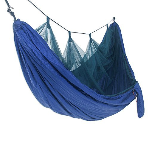 NOVICA- Portable with Mosquito Net - Navy Blue Paradise