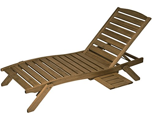 Butzke-Mestra Hardwood Outdoor Patio Chaise Lounge with Tray - Brown