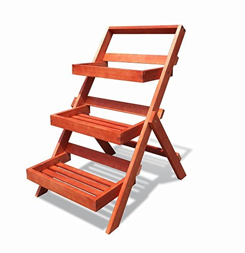Vifah-Outdoor Wood Three-Layer Plant Stand