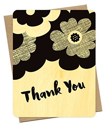 Night Owl Paper Goods-Noir Flower Real Wood Thank You Card