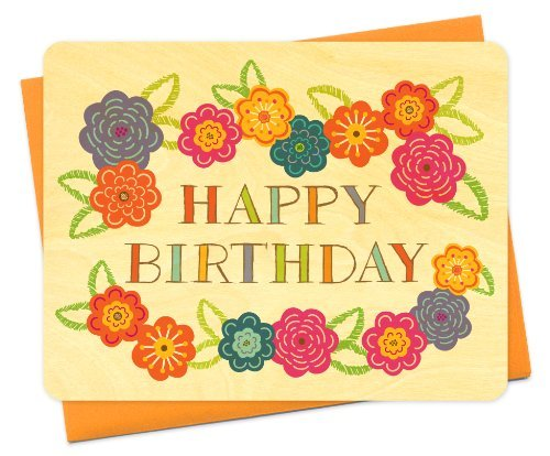 Night Owl Paper Goods-Vibrant Floral Wood Birthday Card