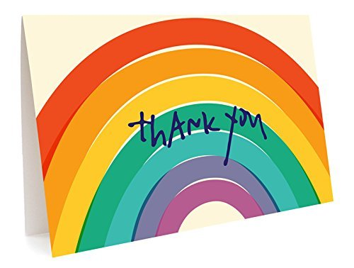 Night Owl Paper Goods-Box Of 6 Night Owl Paper Goods Big Rainbow Folded Thank You Cards