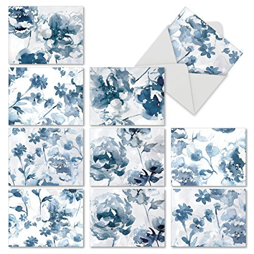 The Best Card Company-Indigo Blooms: 10 Assorted Thank You Note Cards