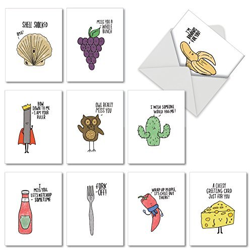 The Best Card Company-Fun Puns: 10 Assorted Blank All-Occasion Note Cards