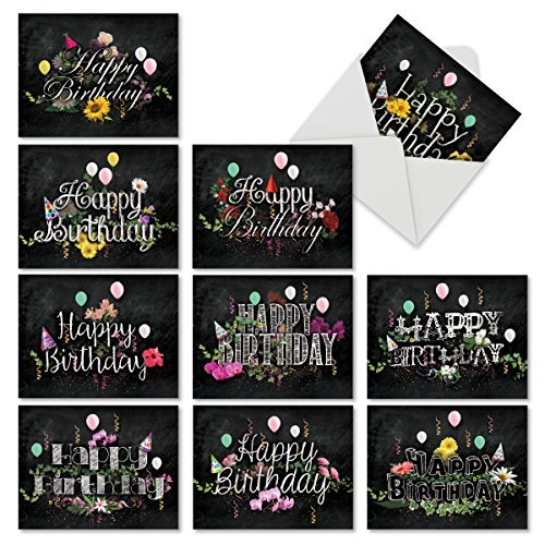 The Best Card Company- Chalk And Roses - Birthday: 10 Assorted Birthday Note Cards