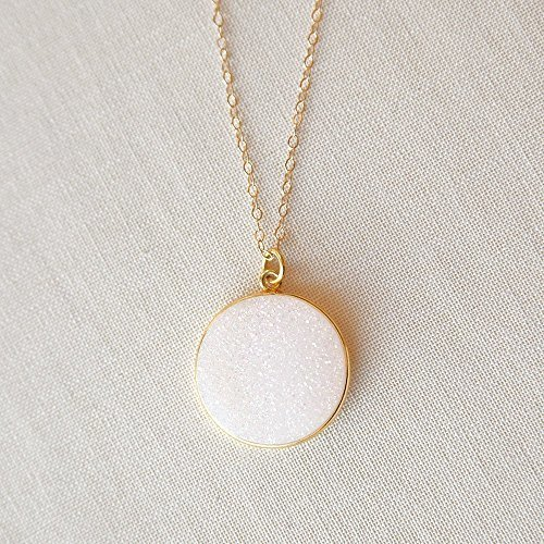 Adorn512-Handmade White Druzy Necklace in 14K Gold
