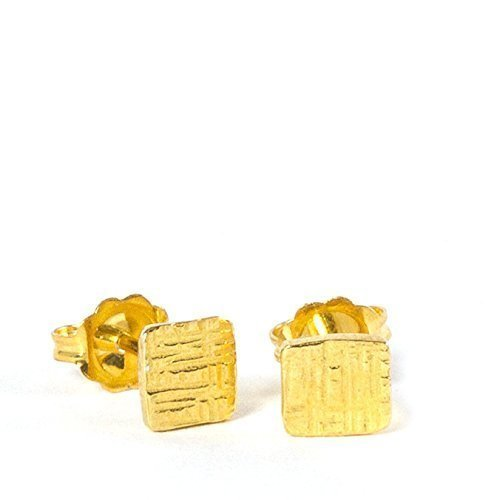 Amanda K Lockrow-Tiny Hammered Square 14K Yellow Gold Plated Sterling Silver Minimalist Stud Earrings