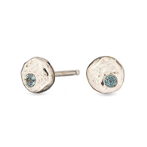 Amanda K Lockrow-Aquamarine sterling silver pebble stud earrings - aquamarine