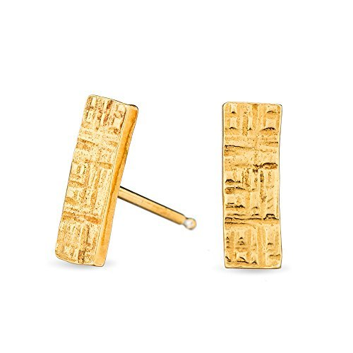 Amanda K Lockrow-Yellow gold plated hammered rectangle sterling silver stud earrings