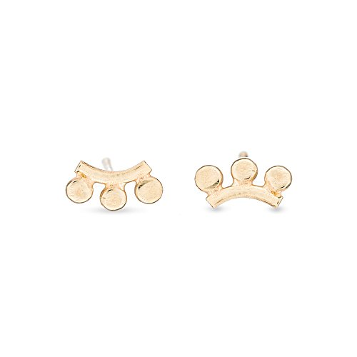 Amanda K Lockrow-14K yellow gold sunrise stud earrings - 3 rays