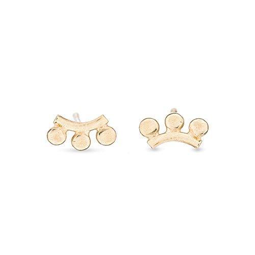 Amanda K Lockrow-14K yellow gold sunrise stud earrings - 3 rays