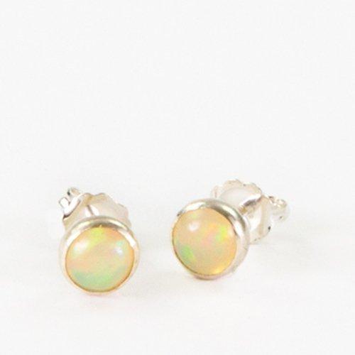 Amanda K Lockrow-Ethiopian Opal sterling silver 6mm stone studs