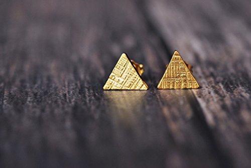 Amanda K Lockrow-14K yellow gold plated triangle hammered stud earrings