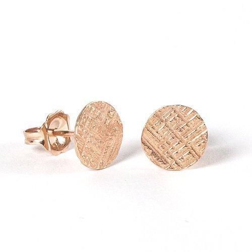 Amanda K Lockrow-14K rose gold vermeil crosshatched studs