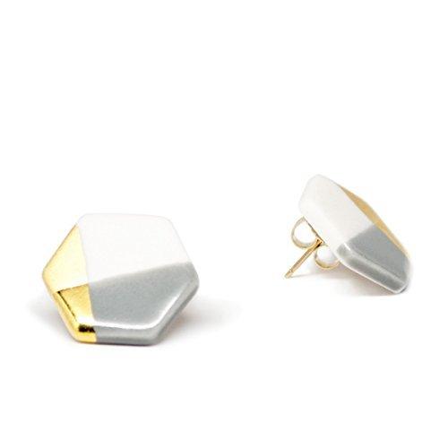 ASH Jewelry Studio-Gray Hexagon Stud Earrings, Porcelain Gold Dipped