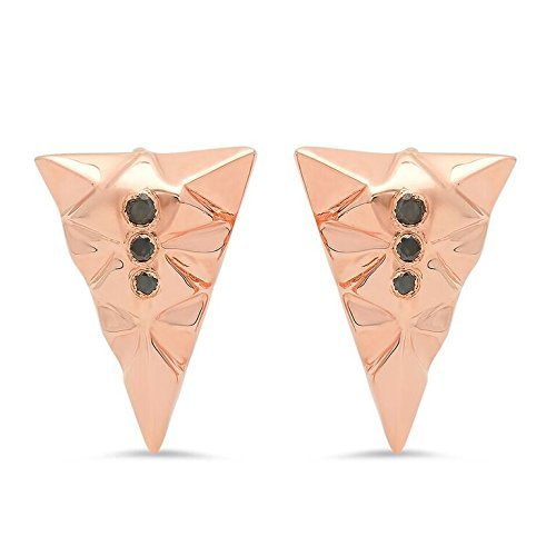 Kristen Dorsey Designs-Small Rose Gold Triangle Studs - Black Diamond/Rose Gold