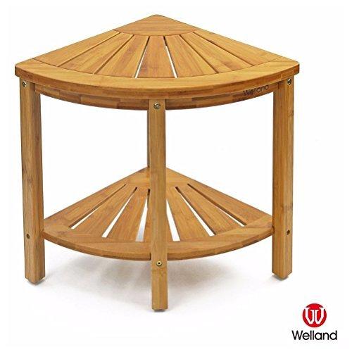 WELLAND-Corner Shower Bench with Storage Shelf & Bamboo Shower Seat Stool