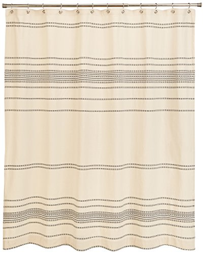 Coyuchi-Organic Rippled Stripe Shower Curtain - Gray Chambray with Sapphire