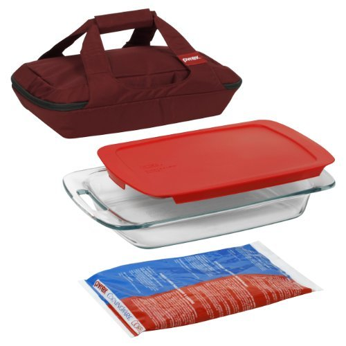Pyrex-Portables 4-Piece Glass Bakeware and Food Storage Set