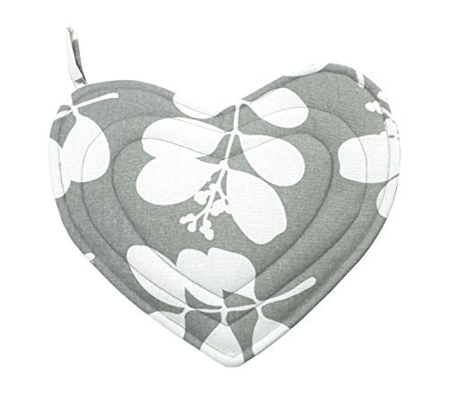 Dandi-Heart Oven Mitt - Succulent Feather Grey