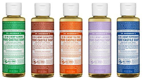 Dr. Bronner's-Gift Set Castile Liquid Soaps in Almond, Eucalyptus, Tea Tree, Lavender, and Peppermint
