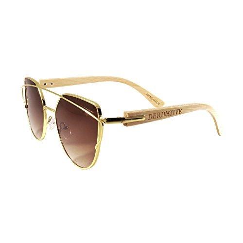 Derivative-Flat Lens Cat Eye Bamboo Wooden Sunglasses