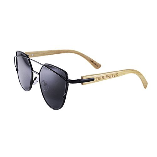 Derivative-Flat Lens Cat Eye Bamboo Wooden Sunglasses