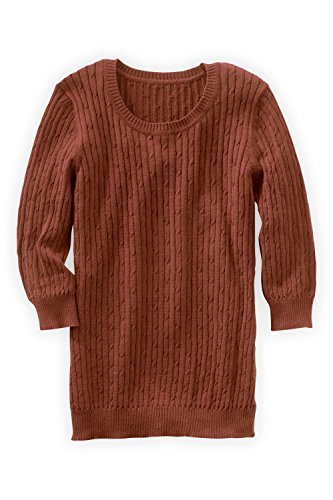 Fair Indigo-Fair Trade Organic 3/4-sleeve Cable Crew Sweater