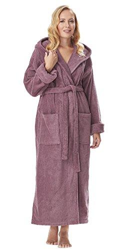 Arus-Arus Women's Organic Cotton Hooded Full Length Turkish Bathrobe