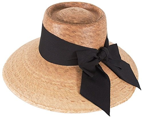Tula Hats-Joliet Black Bow Hand Woven Palm Hat