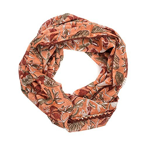 Matr Boomie-Block Print Cotton Infinity Scarf -Coral