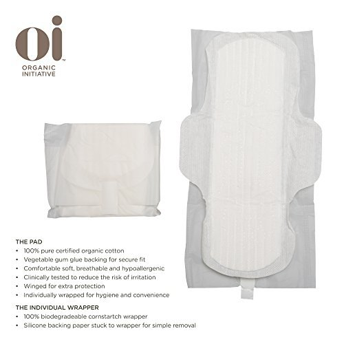 Oi - Organic Initiative-Organic Cotton Ultra Thin Pads with Wings - Super
