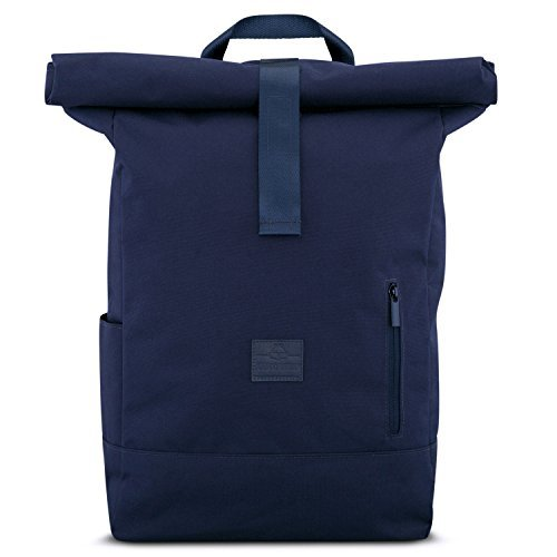 """Johnny Urban-Backpack Men & Women Blue - JOHNNY URBAN """"Aaron"""" from Recycled PET - Durable Roll Top Daypack - 18 - 22 Litre Rucksack day-to-day Bag - Water-repellant, very Flexible with Laptop Pocket"""