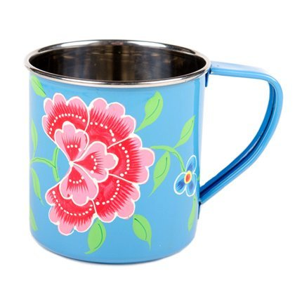 Connected Fair Trade Products-Blue Hand Painted Enamel Mugs - Set of 4