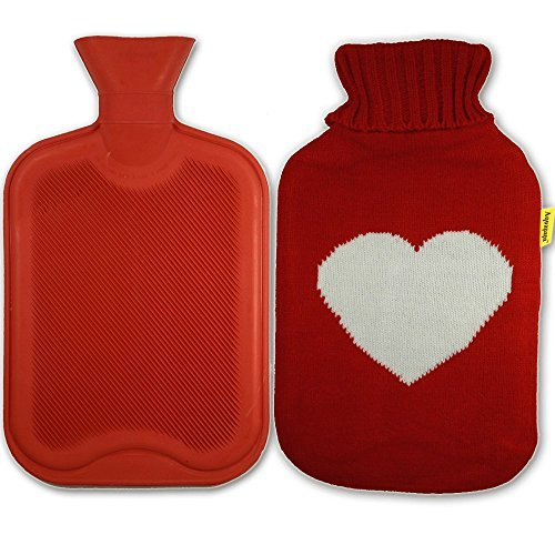 Aquapapa-Natural Rubber Hot Water Bottle with Heart Knit Cover