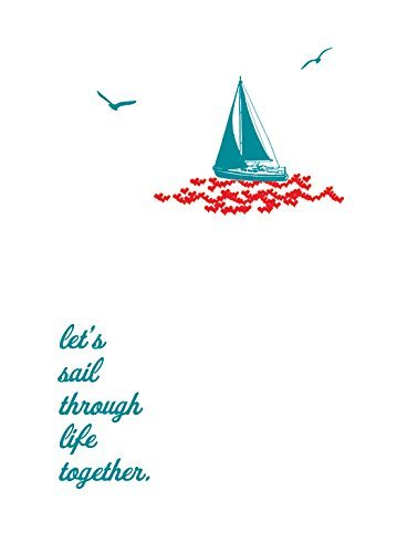 Lark Press-Sailboat on Hearts Blank Card, 3.5 X 4.75 (1)