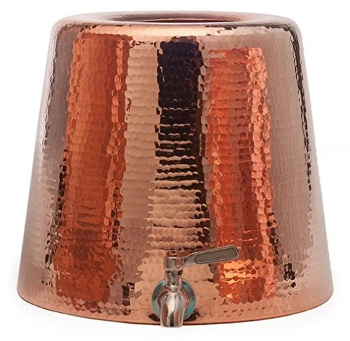 Sertodo Copper-Hand Hammered 100% Pure Copper, Niagara Water Dispenser with Lid