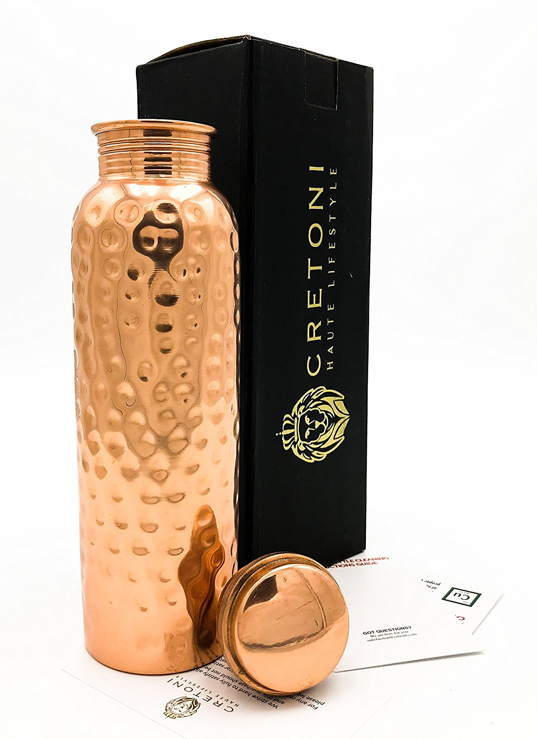 Cretoni-Pure Copper Hammered Water Bottle