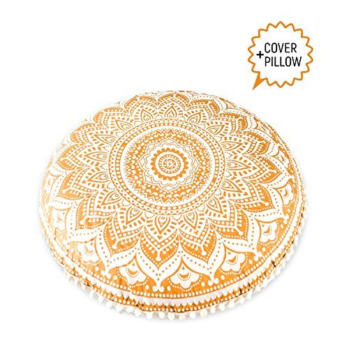 "Mandala Life ART-Mandala Life ART Bohemian Decor Floor Cushion - INSERT INCLUDED - 30"" Round Floor Pillow Pouf - 100% Hand Printed Organic Cotton by (Gold)"