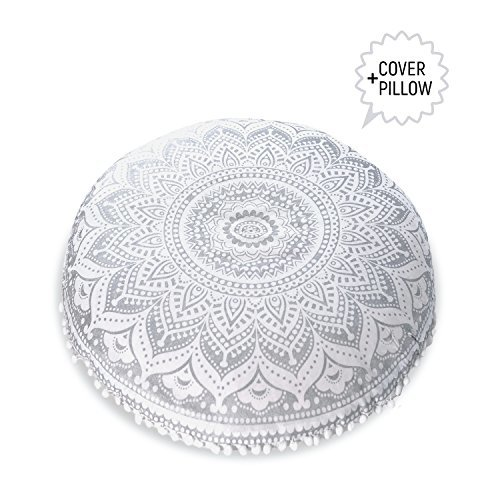 Mandala Life ART-Mandala Life ART Bohemian Decor Floor Cushion - INSERT INCLUDED - Round Meditation Pillow Pouf - 100% Hand Printed Organic Cotton by (Silver Lotus)