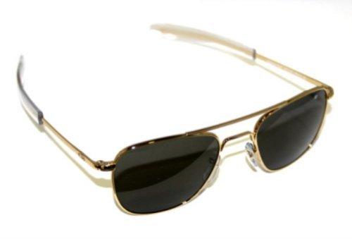 a3a5e311760 AO Eyewear American Optical Original Pilot Bayonet 57mm Gold Color Correct Grey  Sunglasses