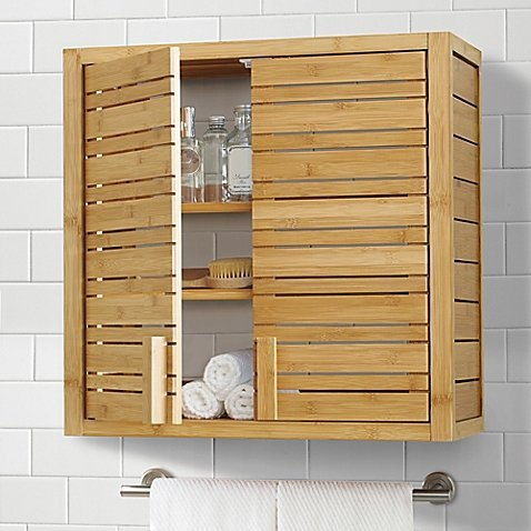 Generic-Two-door Open Shelf Bamboo Cabinet Bathroom Space Saver in Warm Natural Finish