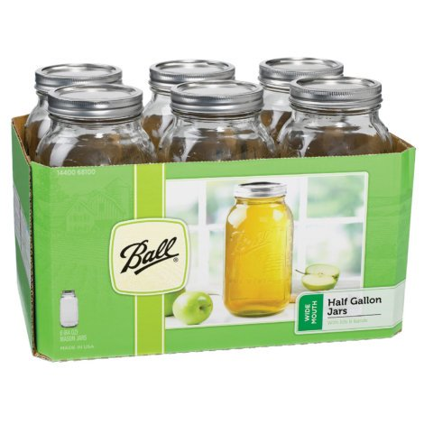 Jarden-Ball Wide Mouth Half Gallon 64 Oz Jars with Lids and Bands, Set of 6 (Pack of 4) Made in USA Fast Shipping + FREE 32 in x 36 White Towel