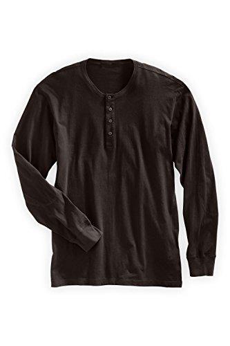 Fair Indigo-Fair Indigo Fair Trade Organic Men's Long Sleeve Henley (XL, Dark Chocolate)