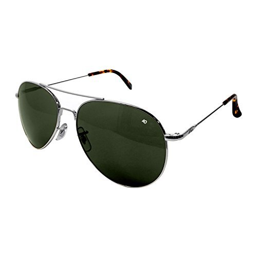 AO Eyewear-AO Eyewear American Optical - General Aviator Sunglasses with Wire Spatula Temple and Silver Frame, Calobar Green Glass Lens