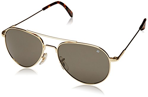 AO Eyewear-AO Eyewear American Optical - General Aviator Sunglasses with Wire Spatula Temple and Gold Frame, True Color Grey Glass Lens