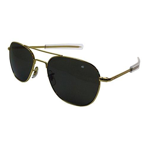 AO Eyewear-AO Eyewear American Optical - Original Pilot Aviator Sunglasses with Bayonet Temple and Gold Frame, Color Correct Grey Polycarbonate Lens