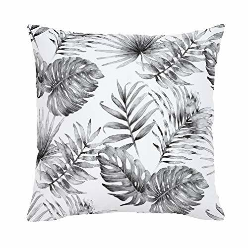 Carousel Designs-Carousel Designs Gray Painted Tropical Throw Pillow 26-Inch Square Size - Organic 100% Cotton Throw Pillow Cover + Insert - Made in The USA