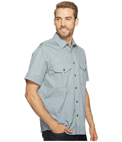 Filson-Filson  Men's Short Sleeve Feather Cloth Shirt Smoke Blue Button-up Shirt
